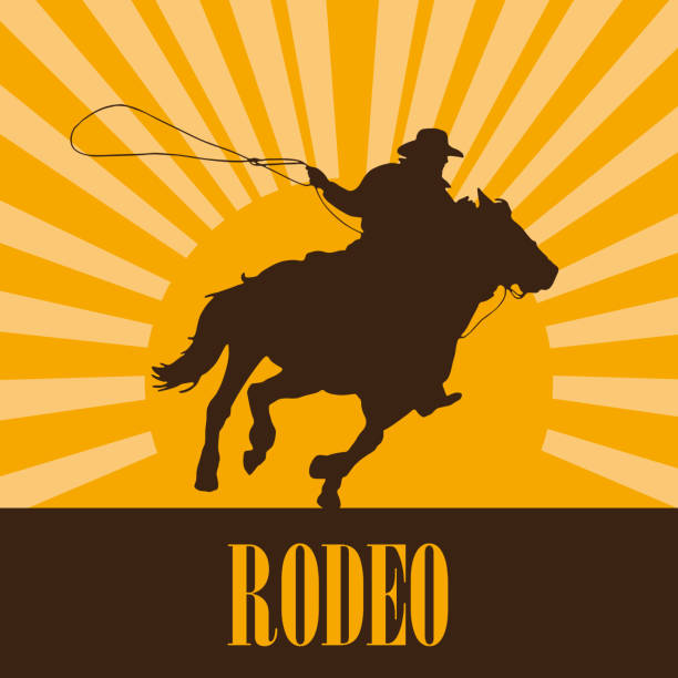 vector cowboy on sunset - rodeo stock illustrations, clip art, cartoons, & icons