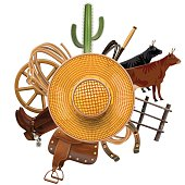Vector Cowboy Ranch Concept with cactus, boots, wheel, cows, wooden fence, horseshoe, lasso and other accessories, around the straw hat, isolated on white background