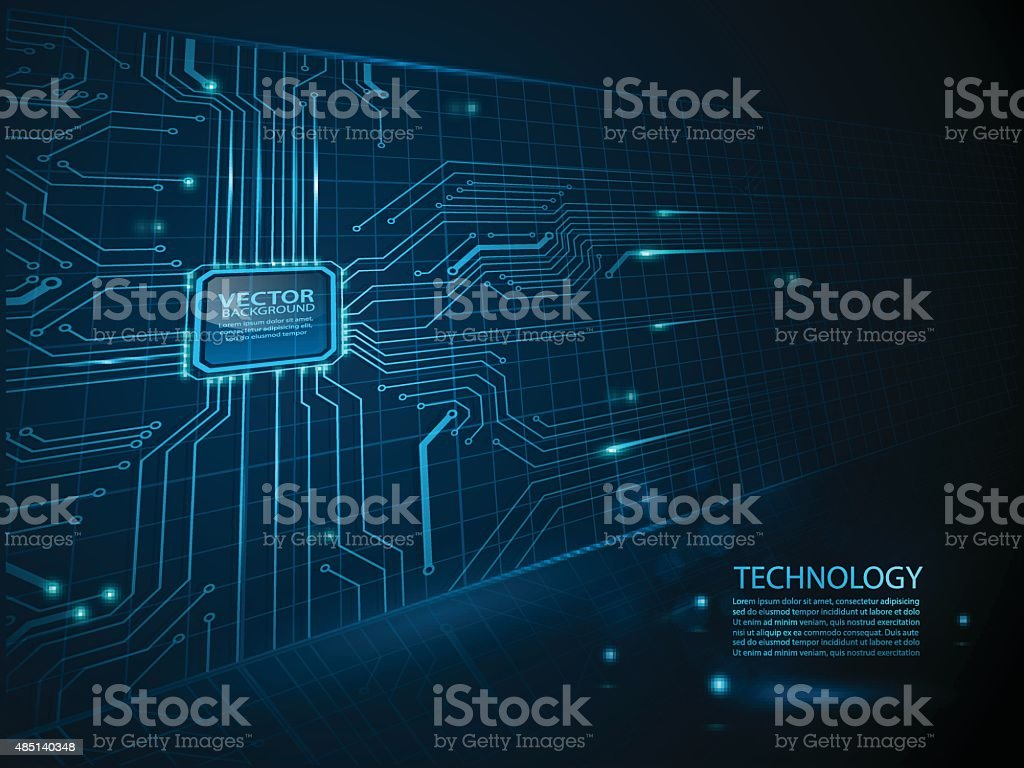 vector cpu computer technology, electronic concept. vector art illustration