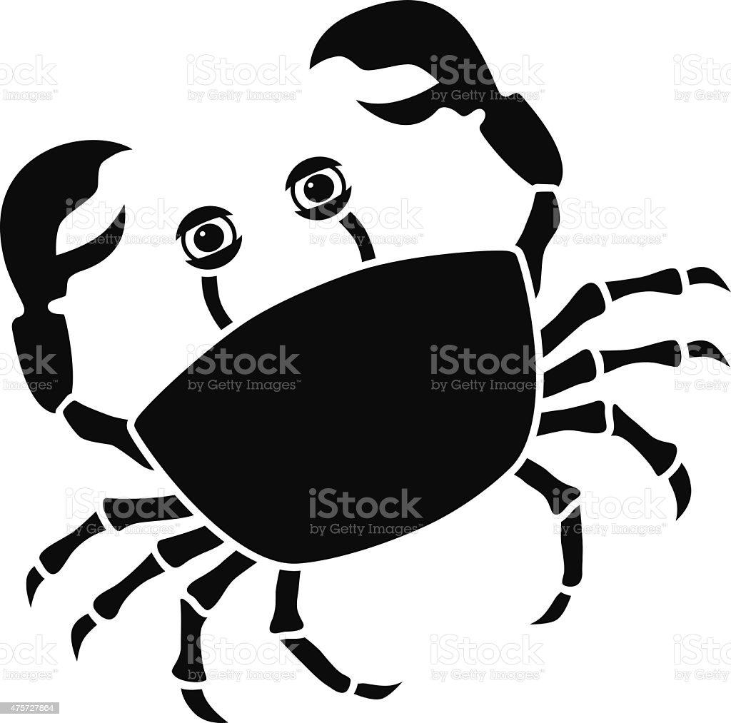 vector crab icon stencil in black and white stock vector