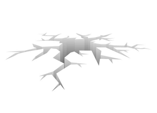 vector crack. designed hole. crash concept white background - crack stock illustrations, clip art, cartoons, & icons
