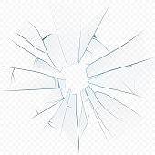 Vector Cracked crushed realistic glass on the transperant alpha background.