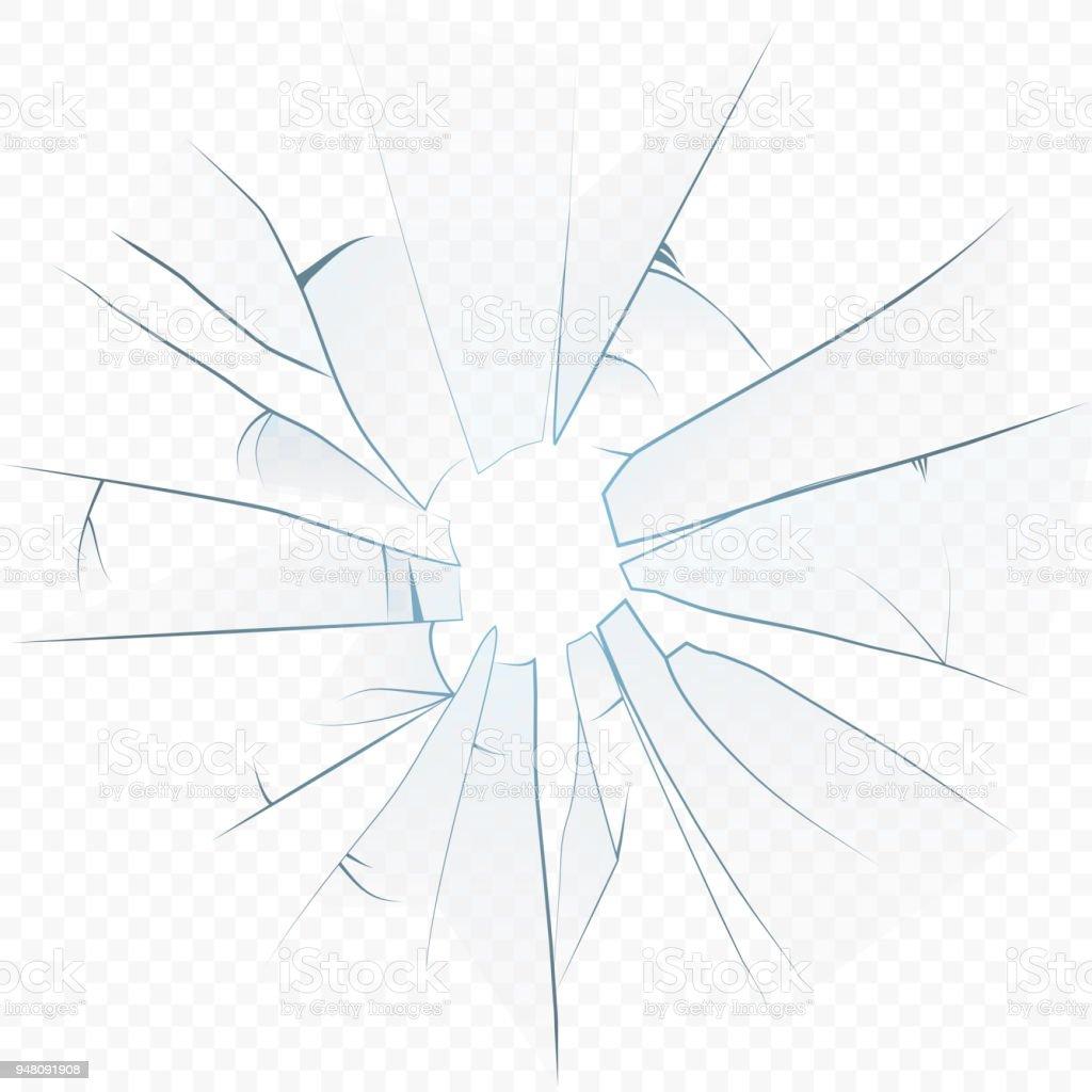 Vektor-Cracked zerkleinert realistische Glas auf dem alpha Hintergrund durchsichtig. – Vektorgrafik