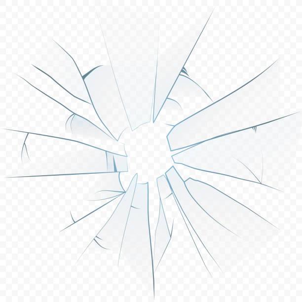 illustrations, cliparts, dessins animés et icônes de vector cracked écrasé verre réaliste sur l'arrière-plan alpha transperant. - abstract mirror