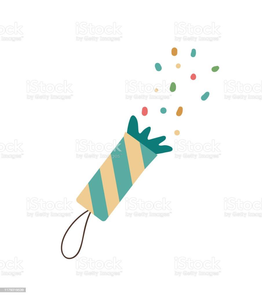 白い背景に隔離されたベクトルクラッカー新年や誕生日のシンボルのかわいい面白いイラスト装飾やデザインのためのクリスマスフラットスタイルの絵 お祝いのベクターアート素材や画像を多数ご用意 Istock