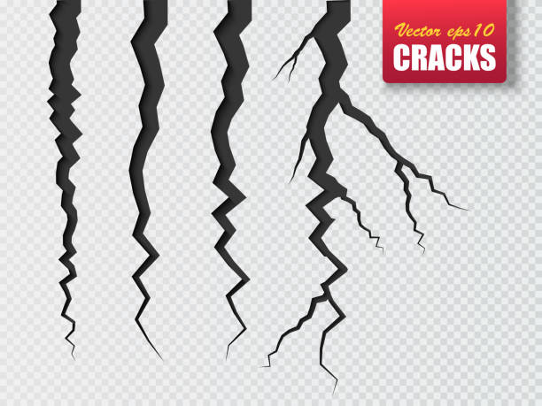 vector cracks isolated. illustration for your design - crack stock illustrations, clip art, cartoons, & icons