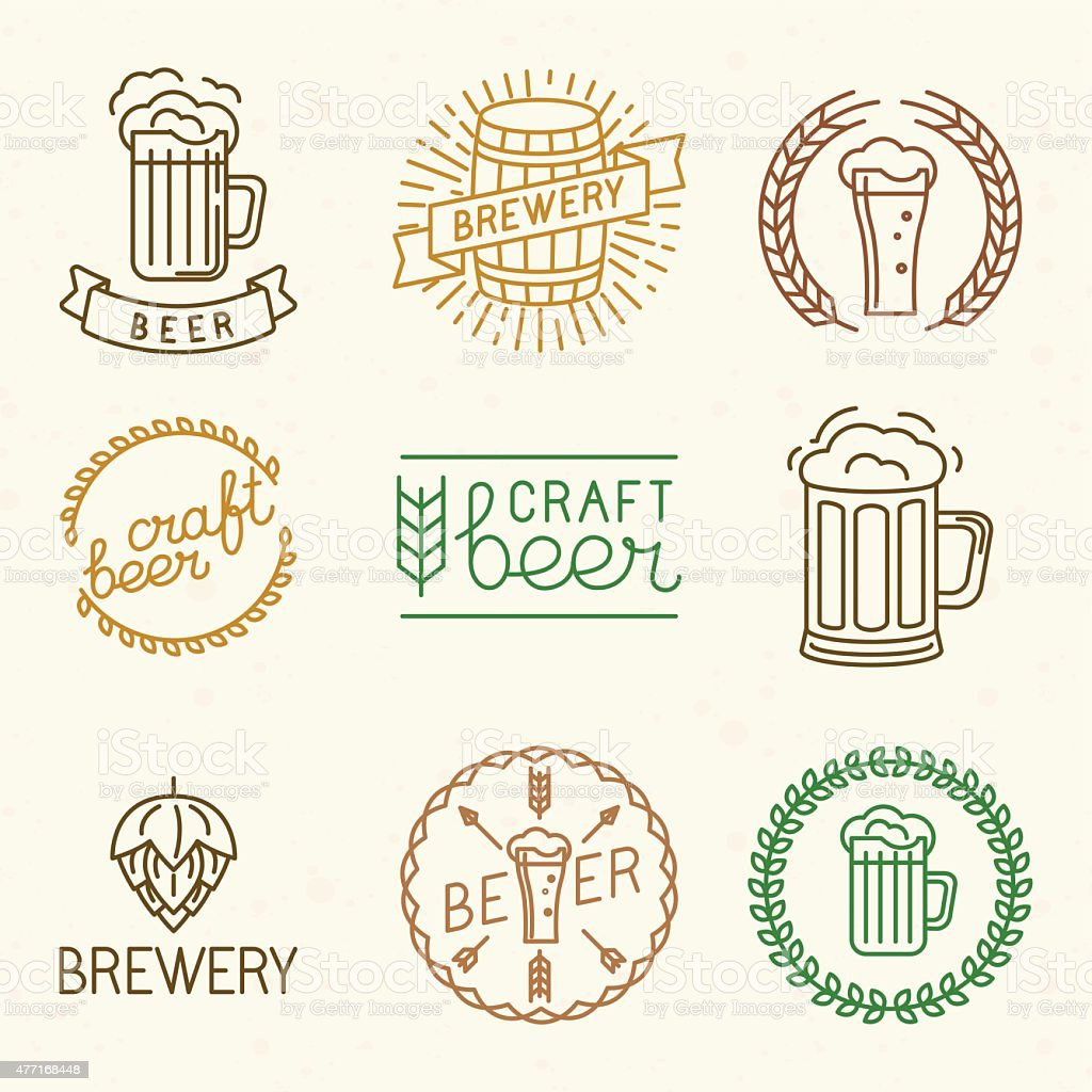 Vector craft beer and brewery logos stock vector art for Craft beer logo design