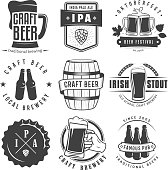 Vector craft beer badges and symbols.