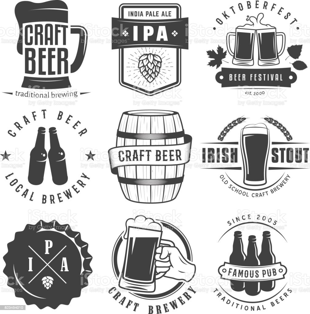 Vector craft beer badges and symbols. - illustrazione arte vettoriale