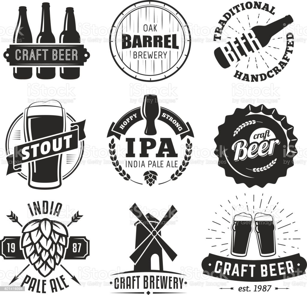Vector craft beer badges. - illustrazione arte vettoriale