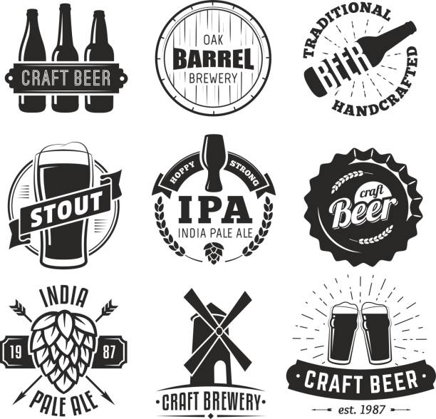 Vector craft beer badges. vector art illustration