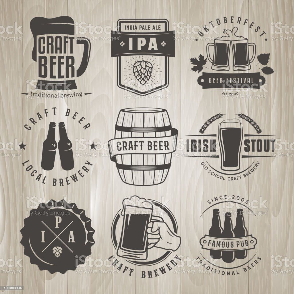 Vector craft beer labels and logos. vector art illustration