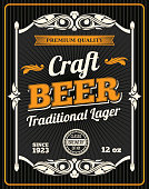 Craft beer retro poster for draught beer bar or sport pub and Oktoberfest design. Vector beer product bottle package tag for traditional lager craft beer with quality sign