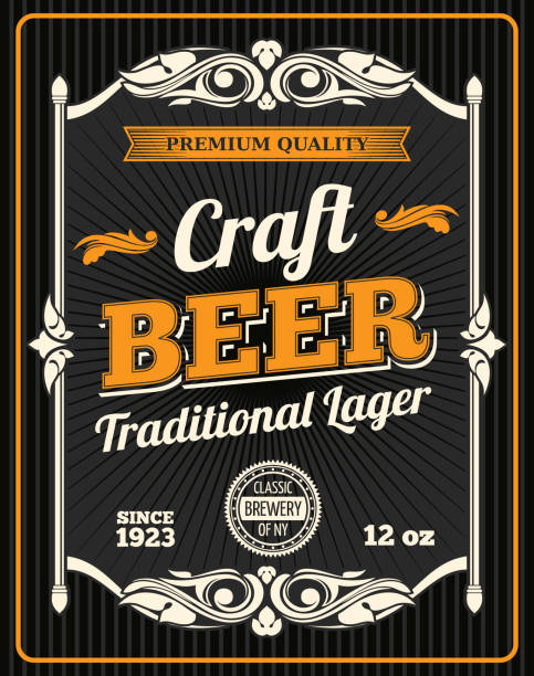 Vector craft beer premium quality poster Craft beer retro poster for draught beer bar or sport pub and Oktoberfest design. Vector beer product bottle package tag for traditional lager craft beer with quality sign uk border stock illustrations