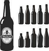 Vector craft beer silhouettes.