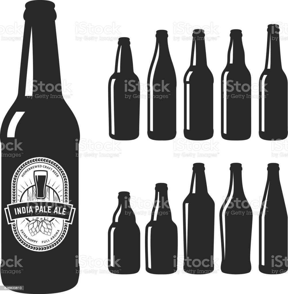 Vector craft beer silhouettes. vector art illustration