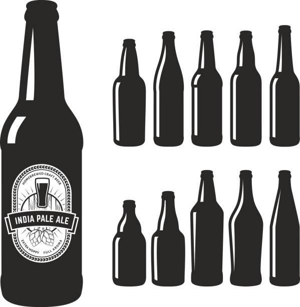 vector craft beer silhouettes. - alcohol drink silhouettes stock illustrations