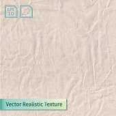 Vector craft crumpled recycled paper sheet photo texture.