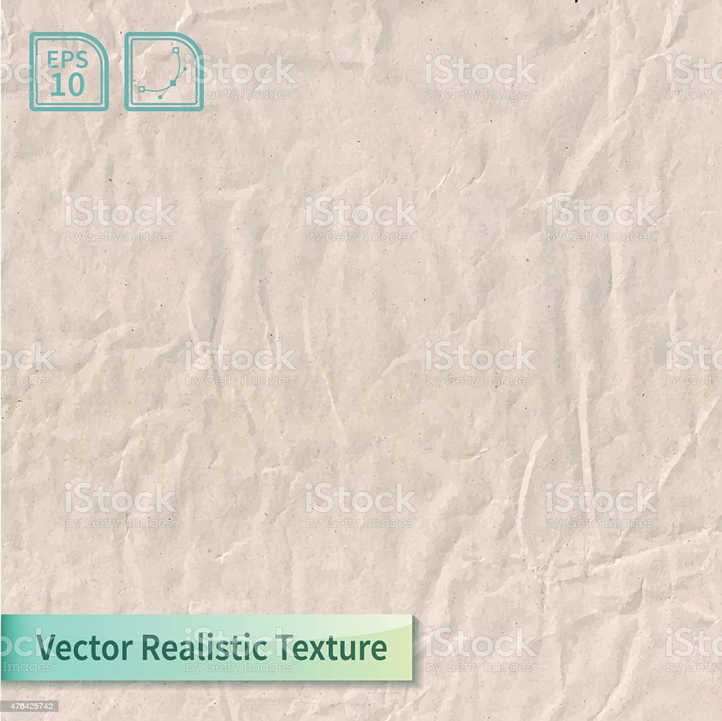 Vector craft crumpled recycled paper sheet photo texture. vector art illustration