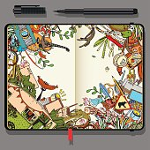 Vector Craft Paper Notebook with Fine Liner Pen and Hand Drawn Doodles. Adventure Camping Objects. Travel and Recreation Time Concept. Color Image.
