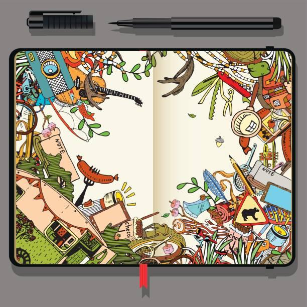 vektor handwerk notizbuch aus papier mit feinem liner stift und handgezeichneten kritzeleien. abenteuer camping objekte. reisen und erholung-zeit-konzept. - campinganhänger stock-grafiken, -clipart, -cartoons und -symbole