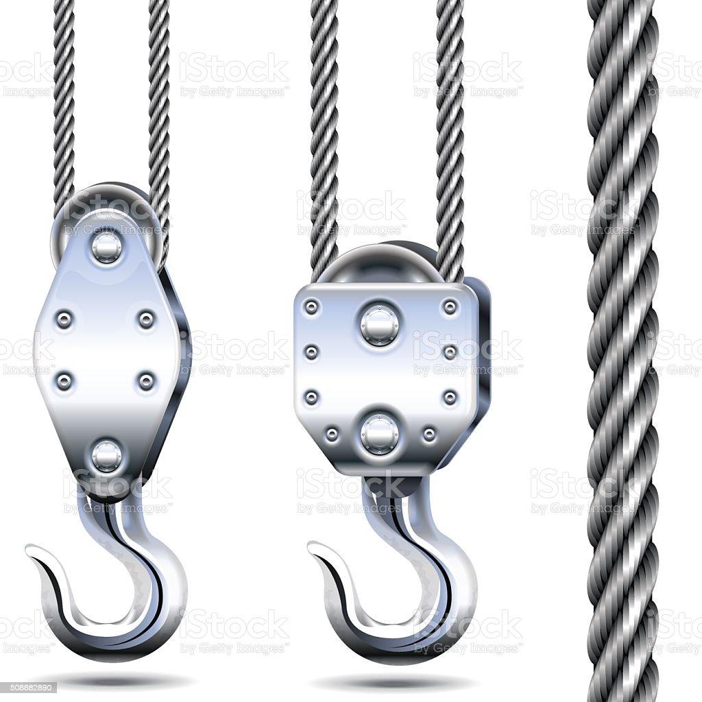 Vector Crane Hooks and Steel Rope vector art illustration