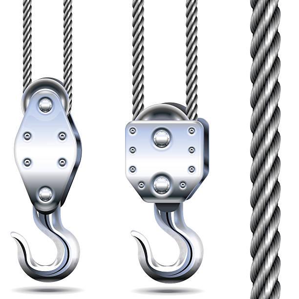 Vektor Kran Haken und Stahl Seil – Vektorgrafik
