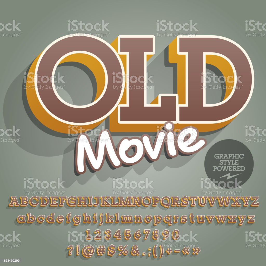 Vector creative Alphabet with text Old Movie