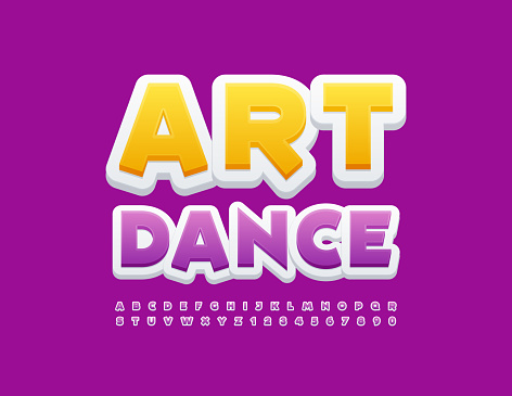 Vector creative banner Art Dance. Purple and White Alphabet Letters and Numbers