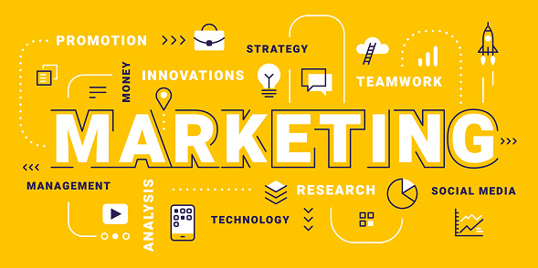 Vector creative business illustration of marketing word lettering typography with icon and tag cloud on yellow background.