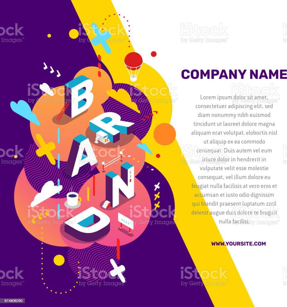 Vector creative concept illustration of 3d word brand lettering typography with decor element, text on color background.
