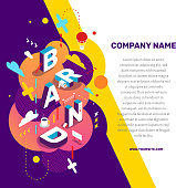 Vector creative concept illustration of 3d word brand lettering typography with decor element, text on color background. Isometric abstract branding design. Composition business template for web, site, banner