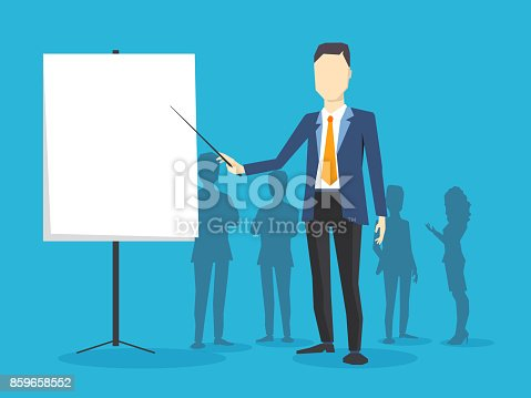1069233370 istock photo Vector creative illustration of business man with a white board on blue background. Manager points to the board at the conference. 859658552