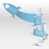Vector creative illustration of business startup. Sheet paper art of city. Vector illustration design.