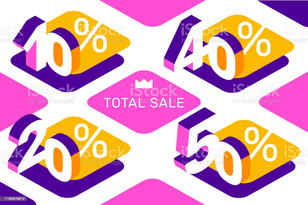 Vector creative illustration of different sale isometric number...