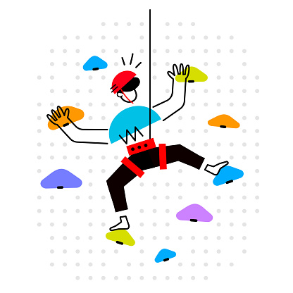 Vector creative illustration of man climbing on wall with stone on white background. Young happy sport male is training for health.
