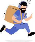 Vector creative illustration of running delivery man with box on the back in blue color uniform on white background. Flat style design for web, site, banner, poster, advertising