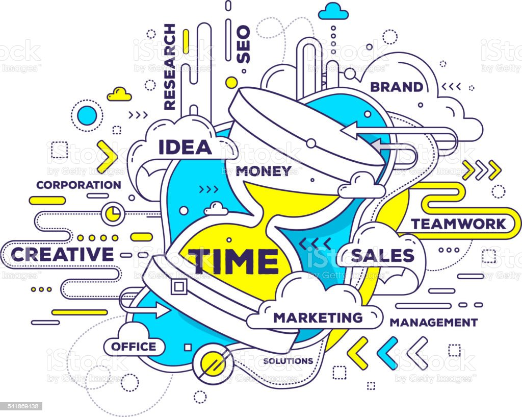 Vector creative illustration of time management with sand glass vector art illustration