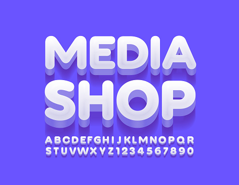 Vector creative logo Media Shop with Alphabet Letters and Numbers