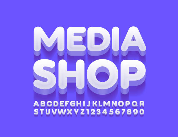Vector creative logo Media Shop with Alphabet Letters and Numbers 3D uppercase Font three dimensional stock illustrations