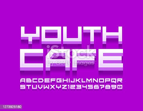 istock Vector creative logo Youth Cafe. Techno style modern Alphabet Letters and Numbers 1273925180