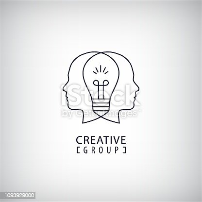 Vector creative mind, creative group, two heads and light bulb between illustration. Thinking, creating new ideas concept. Outline