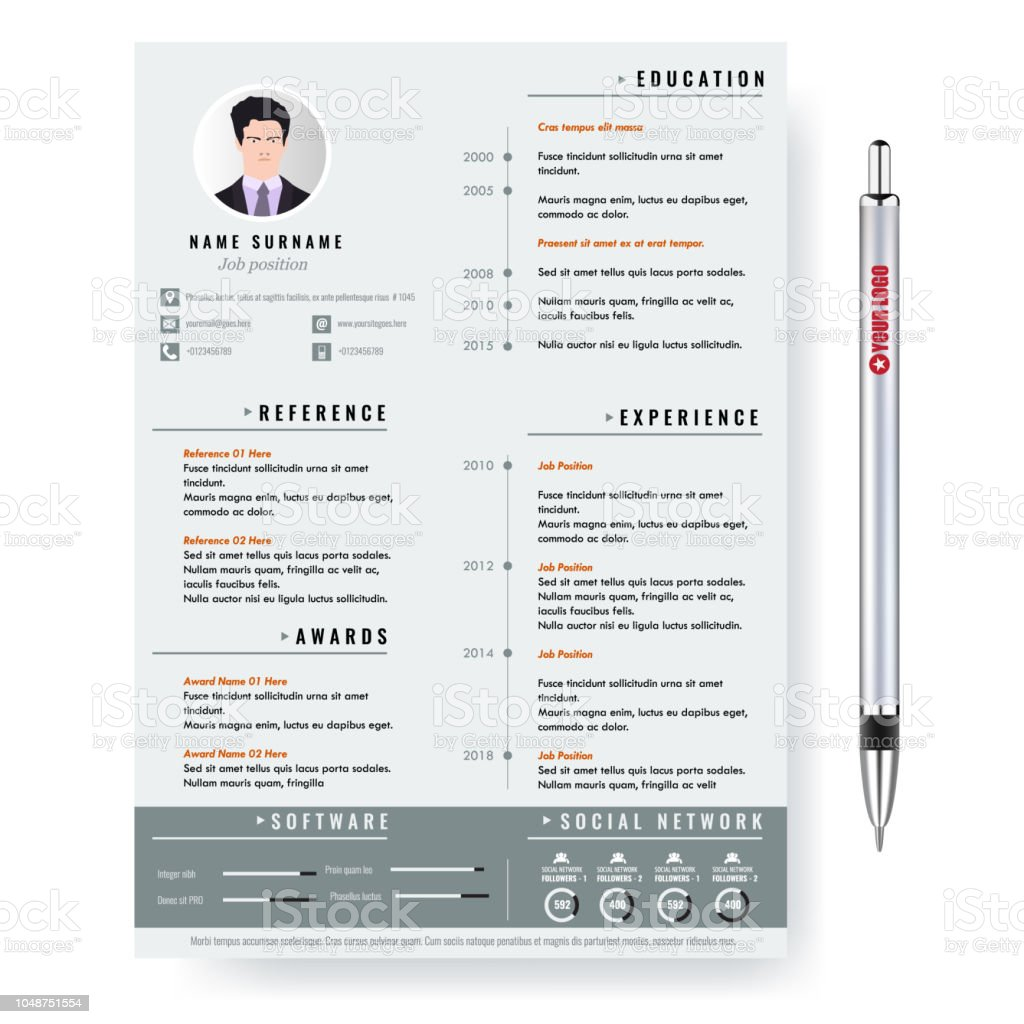 Vector Creative Minimalist Cv Resume Template With Two Pages ...