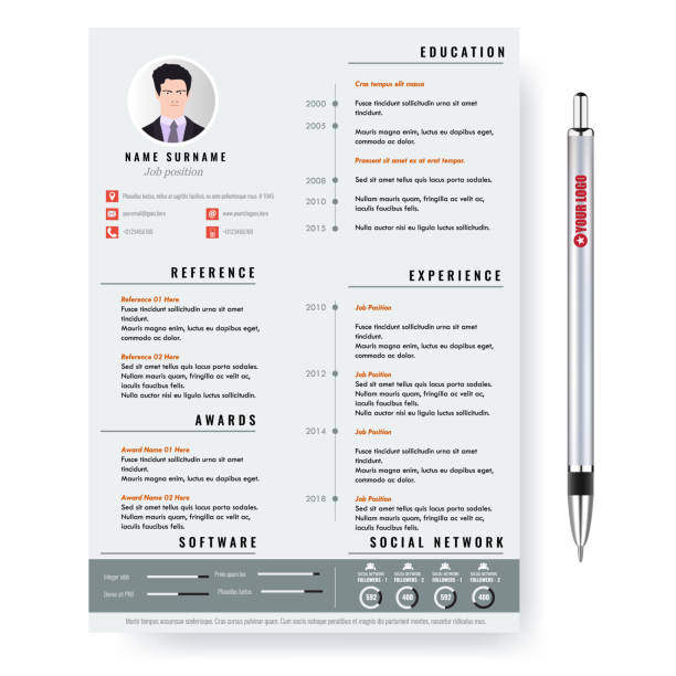 vector creative minimalist cv resume template with two pages. - resume templates stock illustrations