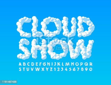 istock Vector creative poster Cloud Show with Uppercase Font. Sky texture Alphabet 1191487435