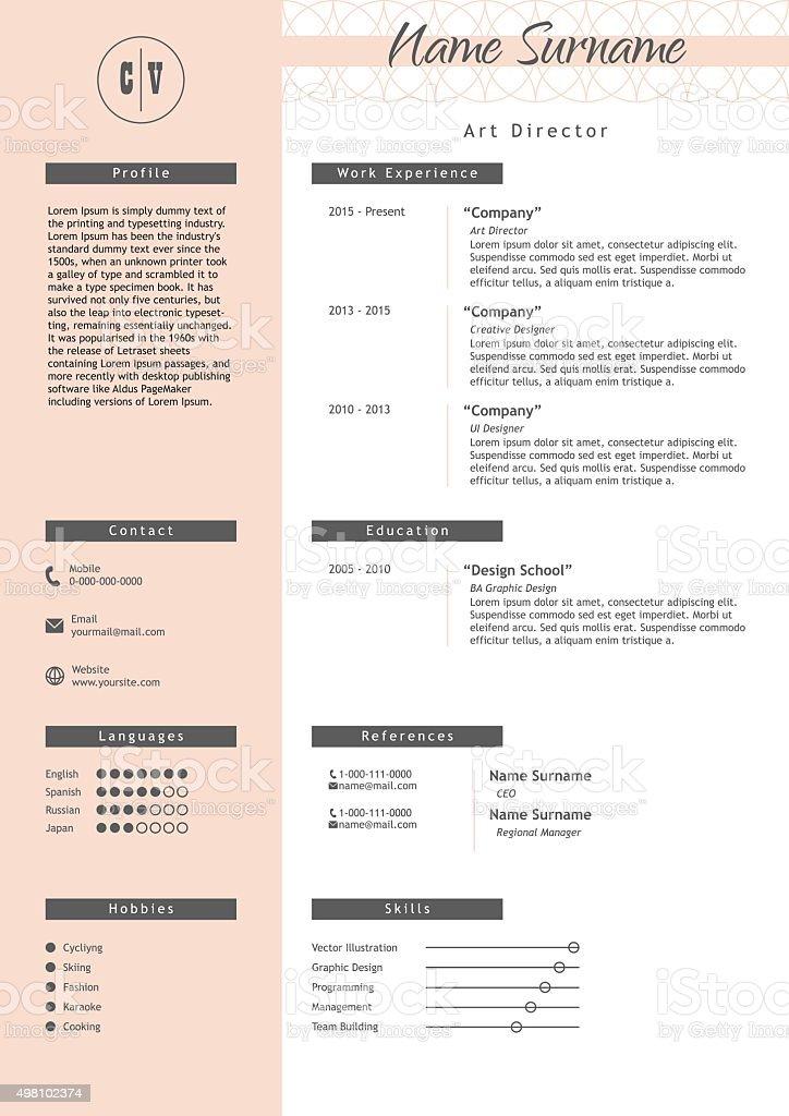 vecteur cr u00e9ation de mod u00e8le de cv style minimaliste cv  u00e9l u00e9ments infographiques  u2013 vecteurs libres