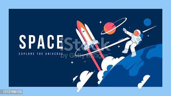 istock Vector creative template with illustration of cosmonaut in spacesuit exploring outer space and spaceship. Astronaut making spacewalk on dark background near earth. 1212766123