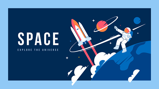 Vector creative template with illustration of cosmonaut in spacesuit exploring outer space and spaceship. Astronaut making spacewalk on dark background near earth.
