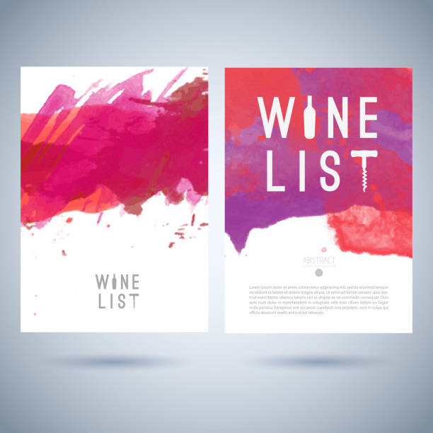 Vector creative wine list cover template Vector creative wine list cover template with logo on abstract watercolor background alcohol drink patterns stock illustrations