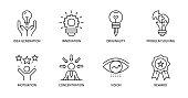 Vector creativity icons. Editable Stroke. Idea generation, concentration, problem solving, motivation, reward vision originality innovation